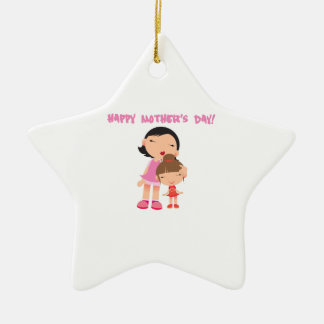 [click to select] Happy Mothers Day Double-Sided Star Ceramic Christmas Ornament