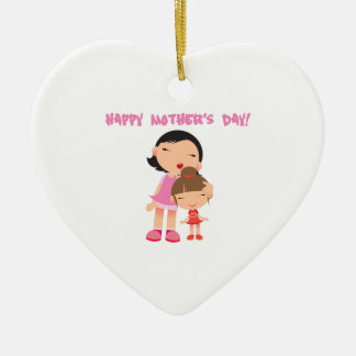 [click to select] Happy Mothers Day Double-Sided Heart Ceramic Christmas Ornament