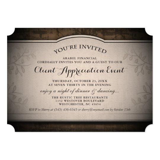 Client Appreciation Event Custom Rustic Invitation Zazzlecom