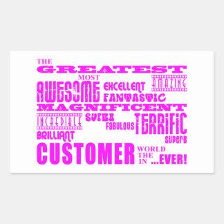 Clientes: Cliente más grande rosado Pegatina Rectangular