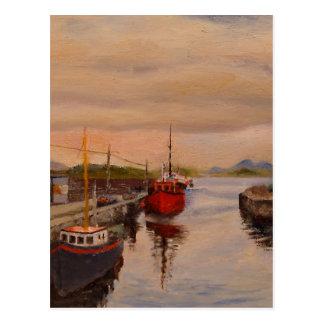 Clifden Ireland Pier Landscape Oil Painting Postcard