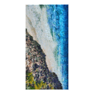 Cliff and water photo card