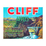 Cliff Apple Label - Chelan Falls, WA Stretched Canvas Print