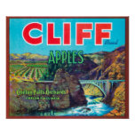 Cliff Apple Label - Chelan Falls, WA Poster
