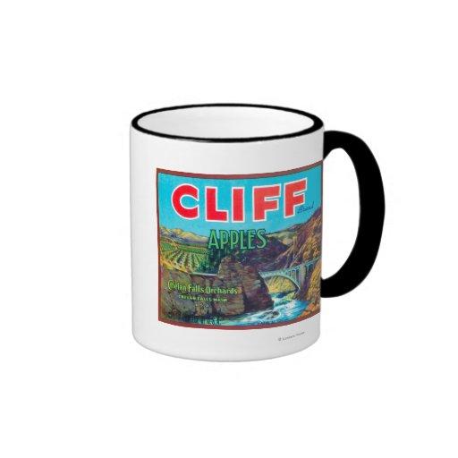 Cliff Apple Label - Chelan Falls, WA Ringer Mug