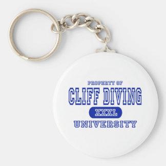 Cliff Diving University Basic Round Button Keychain