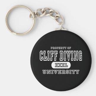 Cliff Diving University Dark Basic Round Button Keychain