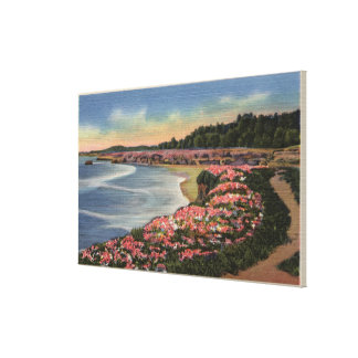 Cliff Drive View of Ocean, Beach, & Flowers Canvas Print