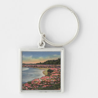 Cliff Drive View of Ocean, Beach, & Flowers Keychain