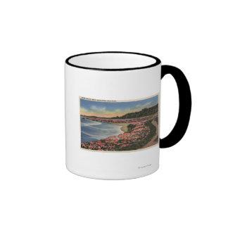 Cliff Drive View of Ocean, Beach, & Flowers Coffee Mug