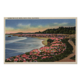 Cliff Drive View of Ocean, Beach, & Flowers Poster