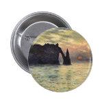 Cliff, Etretat, Sunset by Claude Monet Vintage Art Buttons