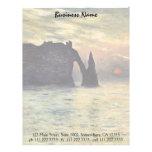 Cliff, Etretat, Sunset by Claude Monet Vintage Art Custom Letterhead