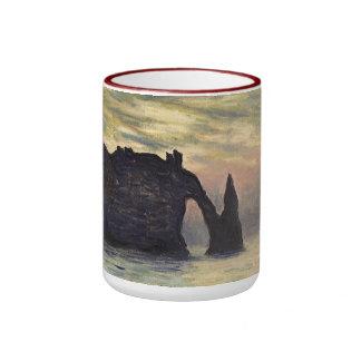 Cliff, Etretat, Sunset by Claude Monet Vintage Art Ringer Coffee Mug