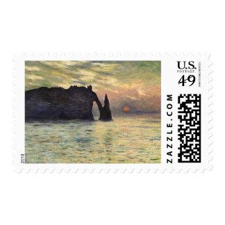 Cliff Etretat Sunset by Claude Monet Vintage Art Stamp