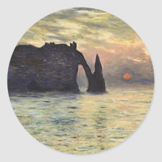 Cliff, Etretat, Sunset by Claude Monet Vintage Art Sticker