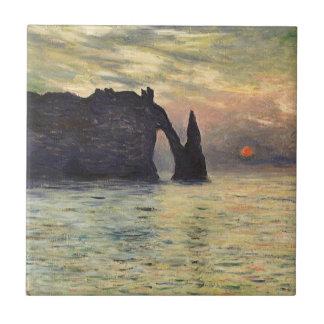 Cliff, Etretat, Sunset by Claude Monet Vintage Art Ceramic Tile