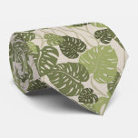 Cliff Hanger Hawaiian Monstera Leaf 2-sidedPrint Neck Tie