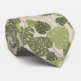 Cliff Hanger Hawaiian Monstera Leaf 2-sided Print Neck Tie