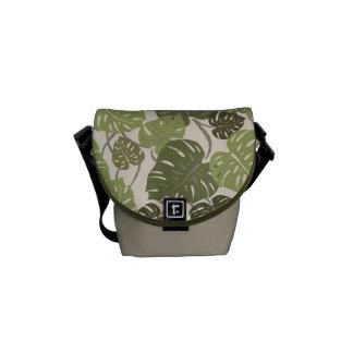 Cliff Hanger Hawaiian Monstera Leaf Messenger Bag