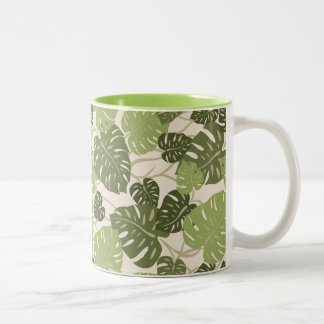 Cliff Hanger Hawaiian Monstera Leaf Two-Tone Coffee Mug