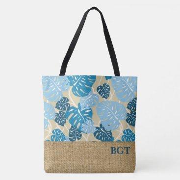 Beach Themed Cliff Hanger Hawaiian Monstera Monogram Beach Bag