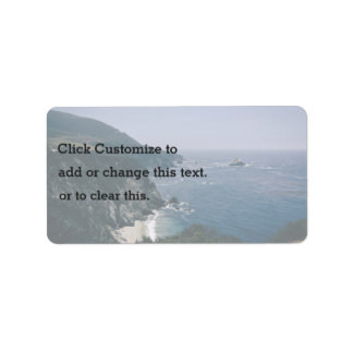 Cliff Themed, A View Of An Ocean, Mountains And Gr Address Label