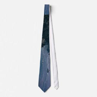 Cliff Themed, A View Of An Ocean, Mountains And Gr Tie