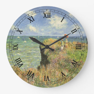 Cliff Walk at Pourville by Claude Monet Large Clock