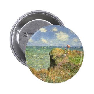 Cliff Walk at Pourville by Claude Monet Pinback Button