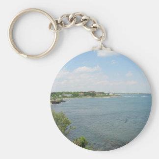 Cliff Walk Newport Rhode Island Basic Round Button Keychain