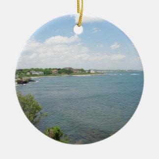 Cliff Walk Newport Rhode Island Double-Sided Ceramic Round Christmas Ornament