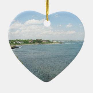 Cliff Walk Newport Rhode Island Double-Sided Heart Ceramic Christmas Ornament