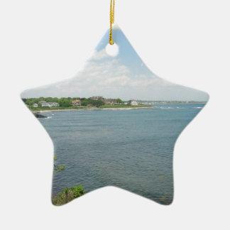 Cliff Walk Newport Rhode Island Double-Sided Star Ceramic Christmas Ornament