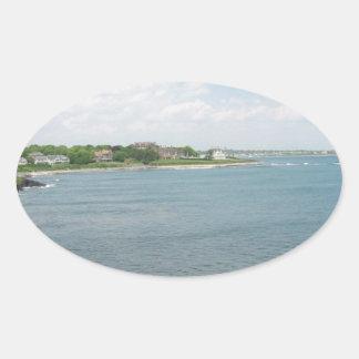 Cliff Walk Newport Rhode Island Oval Sticker
