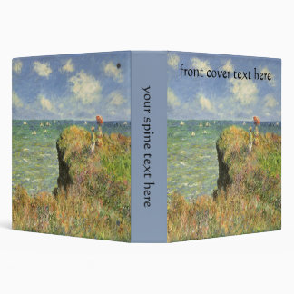 Cliff Walk Pourville, Monet, Vintage Impressionism 3 Ring Binders