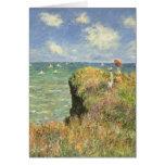 Cliff Walk Pourville, Monet, Vintage Impressionism Greeting Card