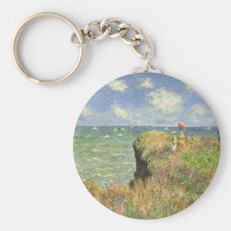 Cliff Walk Pourville, Monet, Vintage Impressionism Keychains