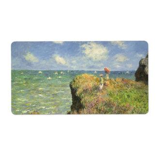 Cliff Walk Pourville, Monet, Vintage Impressionism Shipping Labels