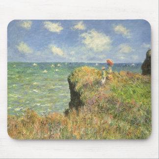 Cliff Walk Pourville, Monet, Vintage Impressionism Mouse Pad