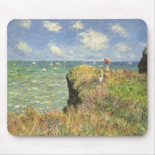 Cliff Walk Pourville, Monet, Vintage Impressionism Mousepad