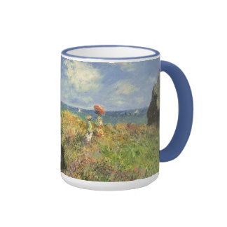 Cliff Walk Pourville, Monet, Vintage Impressionism Ringer Coffee Mug
