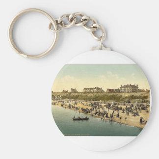 Cliffs and beach, Clacton-on-Sea, England vintage Key Chain