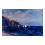 Cliffs and Sailboats at Pourville,1882 Posters