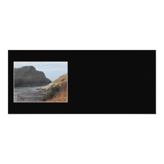 Cliffs at Watermouth, Devon, UK. On Black. 4x9.25 Paper Invitation Card