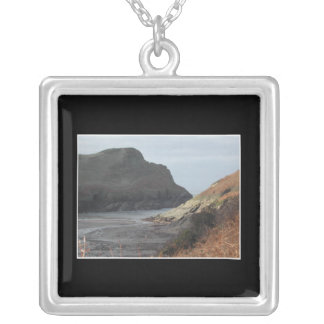 Cliffs at Watermouth, Devon, UK. On Black. Square Pendant Necklace