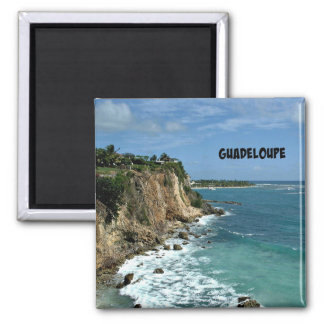 Cliffs in Guadeloupe, Labeled 2 Inch Square Magnet
