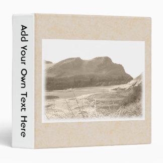 Cliffs in sepia color. On beige background. Binder