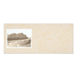 Cliffs in sepia color. On beige background. 4x9.25 Paper Invitation Card