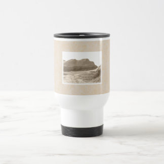 Cliffs in sepia color. On beige background. Stainless Steel Travel Mug